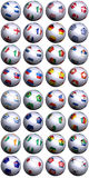 Soccer balls S-Africa World Cup. 32 soccer balls with flags of all the competing nations in the Soccer World cup in South Africa 2010. Separated by continents stock illustration