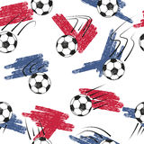Soccer balls seamless pattern with balls and flag colors. Stock Images