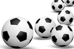 Soccer balls with shadows Royalty Free Stock Photo