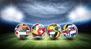 Soccer balls and stadium. 3D football soccer balls with nations teams flags Stock Photography