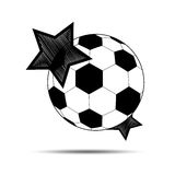 Soccer balls and stars on a white background.Vector Royalty Free Stock Images