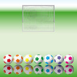 Soccer balls to soccer net. Royalty Free Stock Images