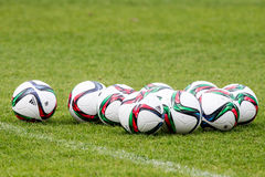 Soccer balls on the training pitch Stock Image