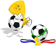 Soccer balls and trophies Royalty Free Stock Photos
