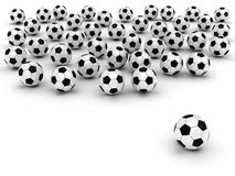 Soccer balls on white. Background rendered with soft shadows. High resolution 3D image Royalty Free Stock Images