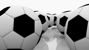 Soccer balls on a white stock video footage