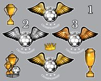 Soccer balls with wings cups and crown. Vector set of sport logo for any team. And championship vector illustration