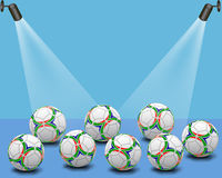 Soccer Balls With Spotlights Stock Photography
