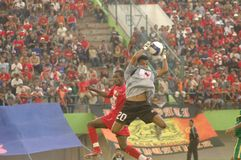 SOCCER BAN. A soccer match between Persis Solo and Persiter Ternate soccer club at Manahan Stadium, Solo, Java, Indonesia.  Indonesian soccer world faces Stock Photo