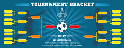 Soccer banner, European football tournament bracket with ball. Vector template Stock Photography