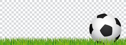 Soccer banner. Football stadium grass and transparent background. Header with soccer ball in the right side. Stock Photography