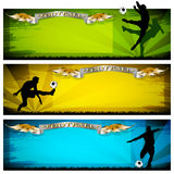 Soccer banners. Three multi colored soccer banners vector illustration