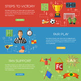Soccer Banners. Three horizontal Vector banners in style flat with different icons on theme of soccer, football, fans, referee, such as ball, red card, trophy Stock Photography