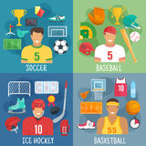 Soccer, baseball, hockey and basketball symbols. Soccer or football, baseball, ice hockey and basketball players icons with sportsmen in uniform, ball, puck Stock Image