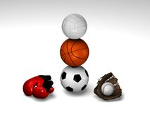 Soccer basket volley and more. Soccerball, basketball and volleyball balanced with red boxing gloves and baseball glove with ball royalty free stock image