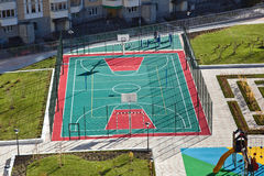 Soccer and basketball playground aerial view Stock Images