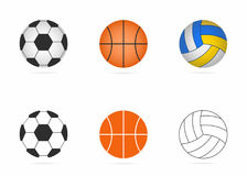 Soccer, basketball and volleyball balls set. Realistic balls and simple icons. Vector Stock Image