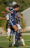 Soccer battling heads stock image