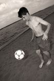 Soccer on the beach. Summer soccer royalty free stock photography