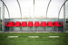 Soccer bench. A plastic grass soccer field for small bench Stock Image