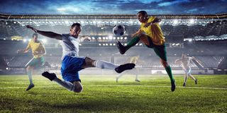 Soccer best moments. Mixed media Stock Photos