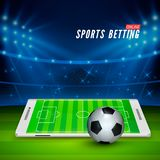 Soccer bet online. Sports betting concept. Soccer stadium and white mobile phone with ball on foreground. Vector. Illustration stock illustration