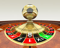 Soccer betting concept. With roulette wheel and soccer ball royalty free illustration