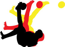 Soccer Bicycle Kick. Illustration of a soccer bicycle kick in the german colors Stock Images