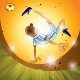 Soccer - Bicycle Kick. Argentina soccer player performing bicycle kick, sunset scene Royalty Free Stock Images