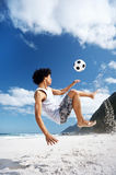 Soccer bicycle kick Stock Photos