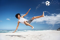 Soccer bicycle kick Stock Photo