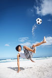 Soccer bicycle kick Royalty Free Stock Images