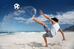 Soccer bicycle kick Royalty Free Stock Image