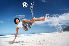 Soccer bicycle kick Stock Photography