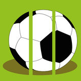 Soccer. Big soccer ball with shadow effect on green background Royalty Free Stock Photography