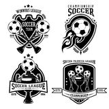 Soccer Black Badges Set. With balls and cups in vintage style on white background  vector illustration Royalty Free Stock Photo
