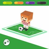 Soccer block isometric cartoon character Royalty Free Stock Images