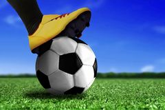 Soccer Boots on Ball Royalty Free Stock Photo