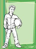 Soccer boy. Vector illustration of a young boy holding his soccer ball Stock Images