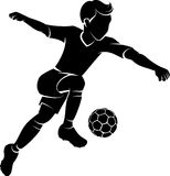 Soccer Boy Kicking Silhouette Royalty Free Stock Photography