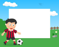 Soccer Boy in the Park Horizontal Frame Royalty Free Stock Images