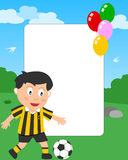 Soccer Boy Photo Frame. Photo frame, invitation card or page for your scrapbook. Subject: a boy playing soccer in a park. Eps file available Royalty Free Stock Photos