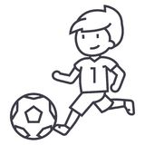 Soccer,boy playing football vector line icon, sign, illustration on background, editable strokes. Soccer,boy playing football vector line icon, sign Stock Photos