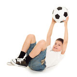 Soccer boy studio isolated Stock Image