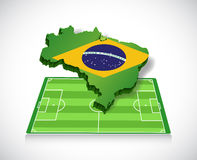 Soccer in brazil. map and field illustration Royalty Free Stock Photo