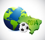 Soccer brazil map 2014 illustration design. Over a white background stock illustration