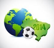 Soccer brazil map 2014 illustration design. Over a white background Stock Images