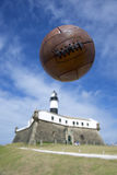 Soccer Brazil Salvador Lighthouse with Vintage Football Royalty Free Stock Photo
