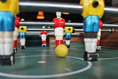 Soccer Tabletop Foosball football yellow and red s Stock Image