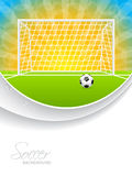 Soccer brochure with ball gate and field Royalty Free Stock Photo